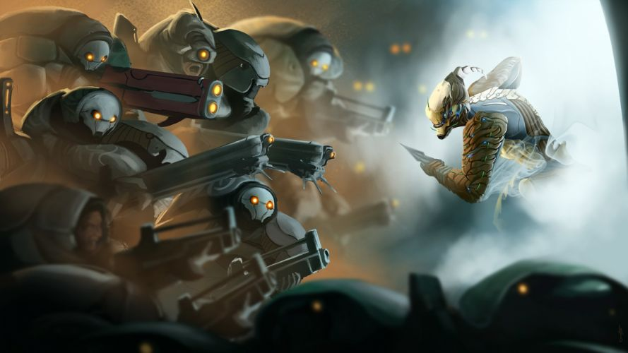 WARFRAME warrior shooter robot cyborg online fighting sci-fi wallpaper