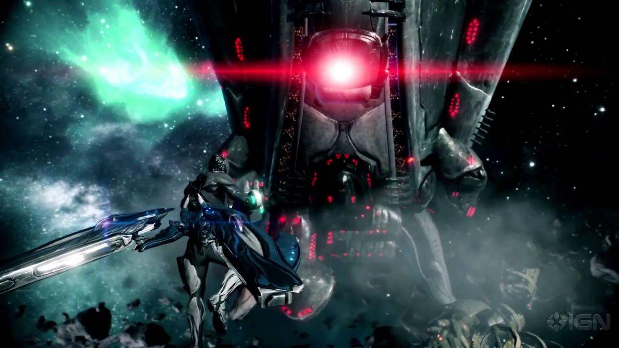WARFRAME warrior shooter robot cyborg online fighting sci-fi wallpaper