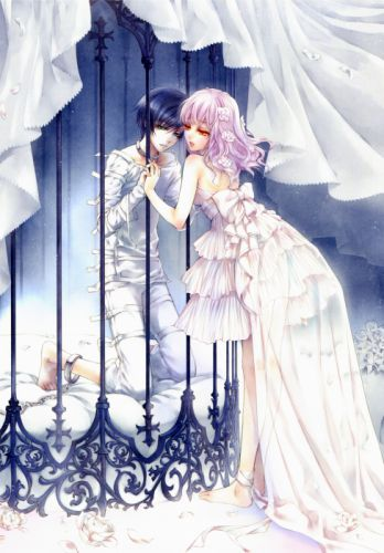 anime couple love rose flower dress white cage prisoner wallpaper