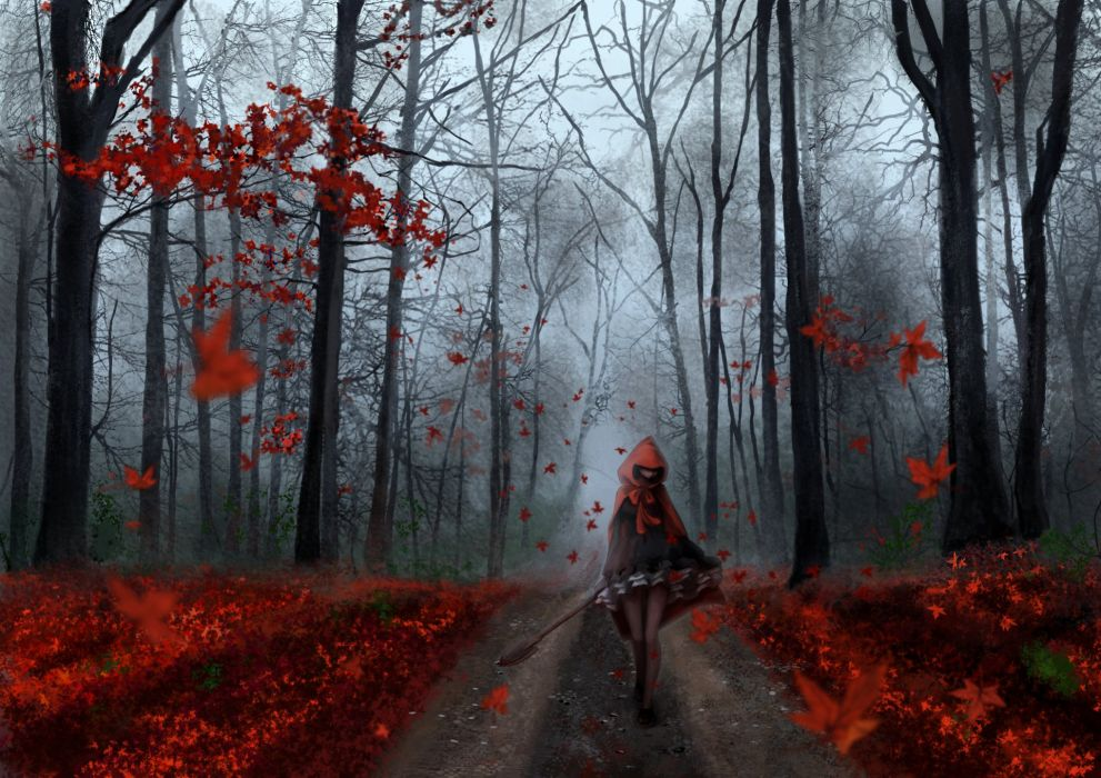 Anime Girl Forest Autumn Tree Red Leaf Road Wallpaper