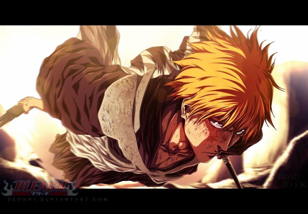 anime series bleach kurosaki ichigo character male sword wallpaper