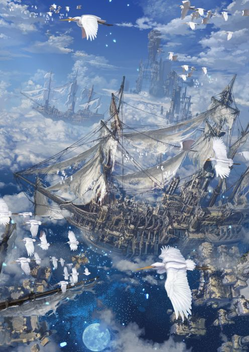 ship cranes anime clouds moon fantasy wallpaper