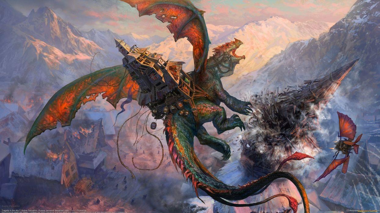 dragones-arte-fantasia-anime wallpaper