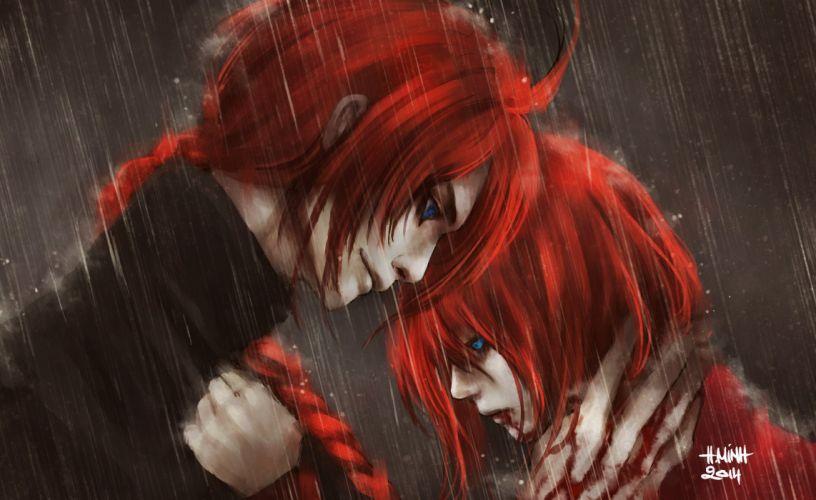 anime series characters red hair blue eyes rain blood guy gintama long hair wallpaper