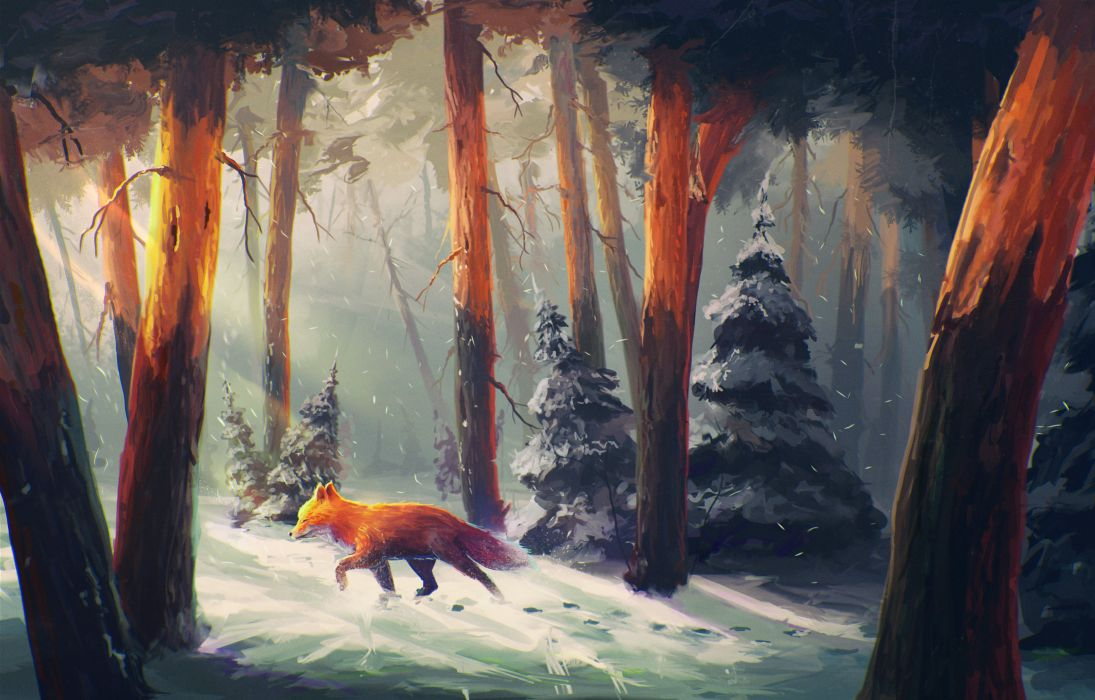 anime fox tree animal sunshine forest snow winter wallpaper