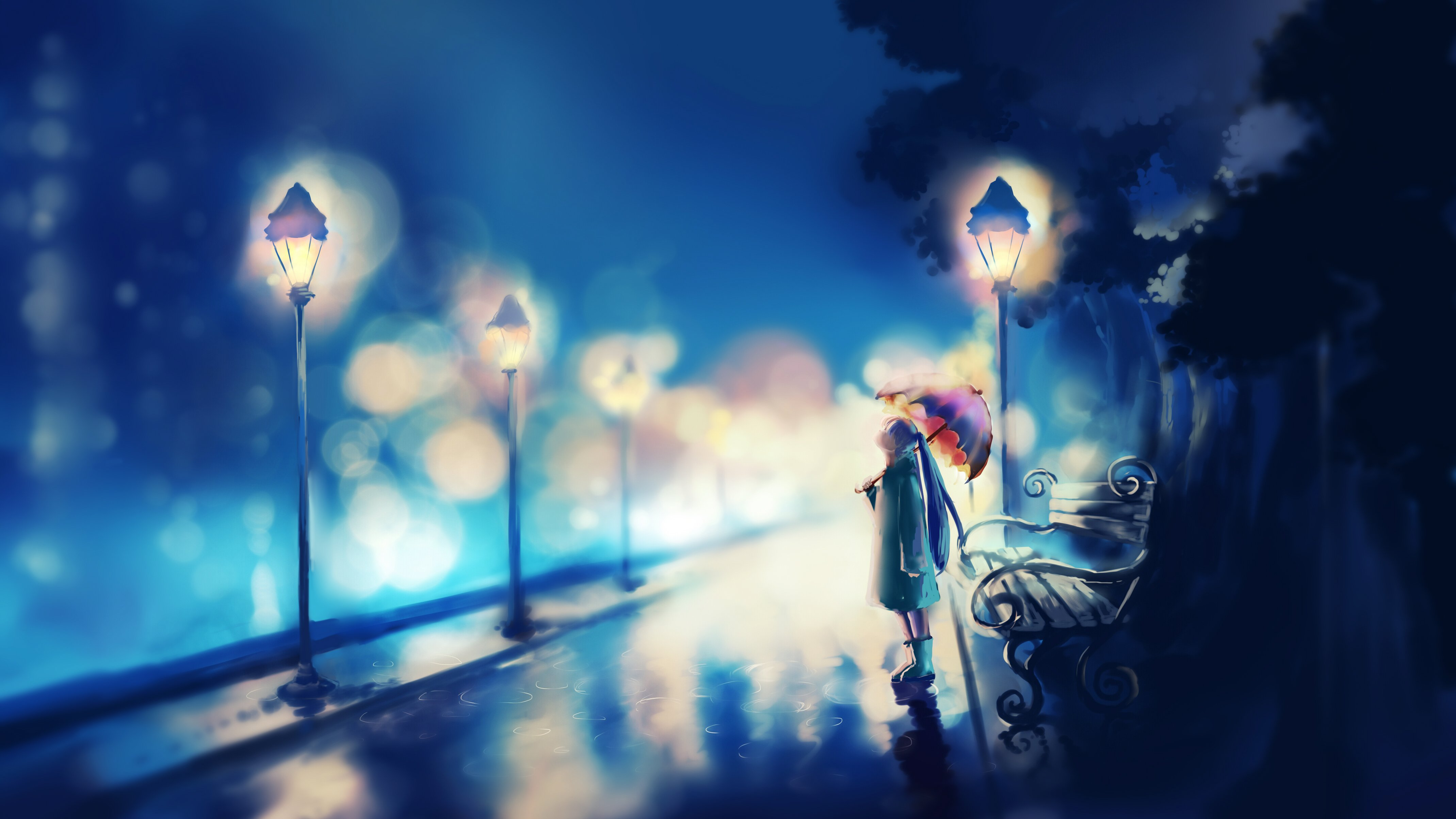 Original Umbrella Red Alone Girl Blue Anime Wallpaper