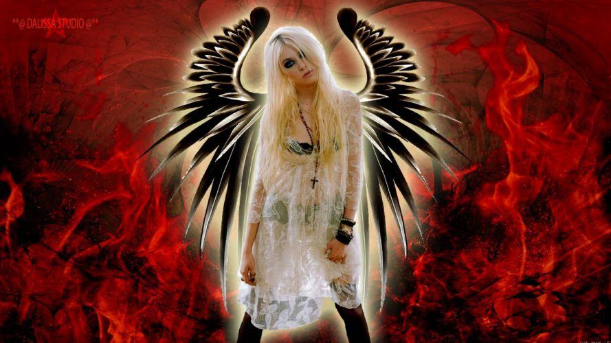 TAYLOR MOMSEN singer actress model blonde alternative rock hard babe sexy Pretty Reckless fantasy angel gothic wallpaper