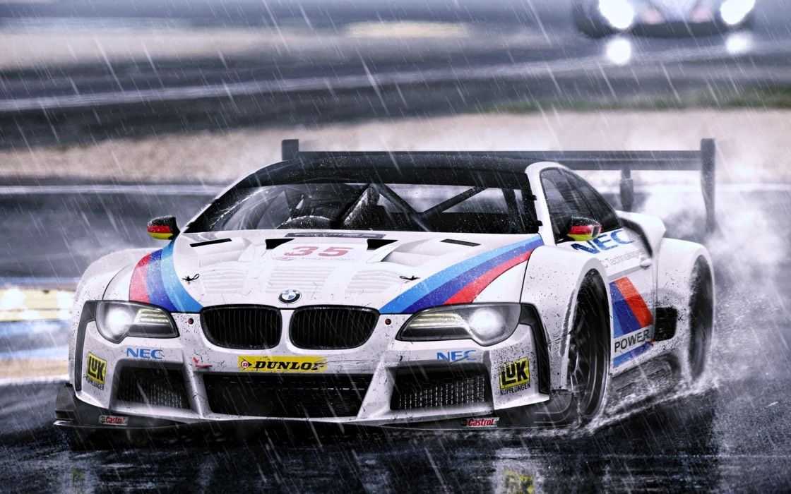 race cars BMW rain wallpaper