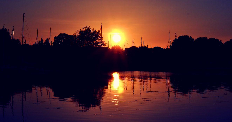 sunset amazing landscape water tree wallpaper
