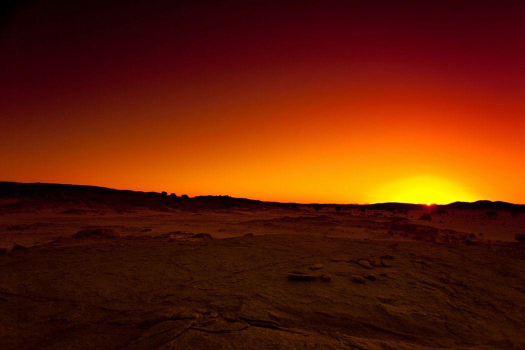 desert tassili hoggar algeria sunset wallpaper