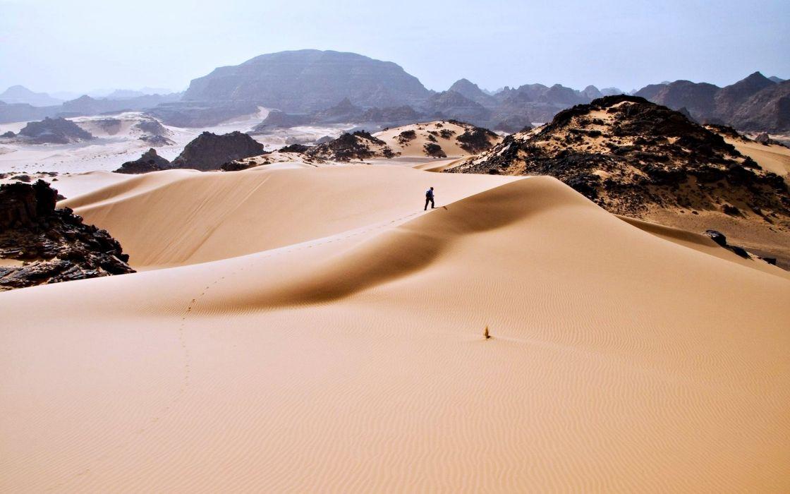Algeria Tassili hoggar sand desert wallpaper