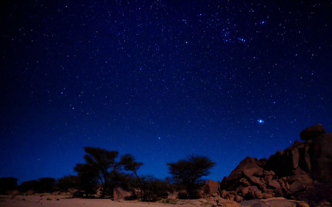Algeria Tassili night stars desert wallpaper