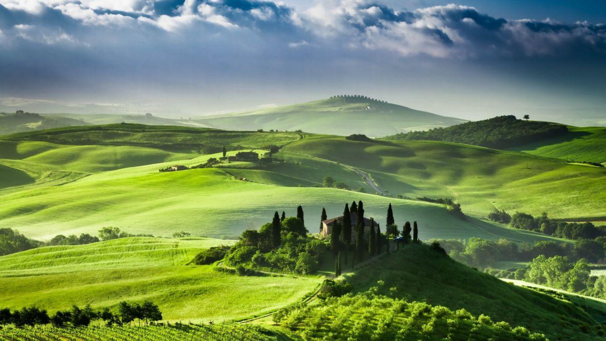 paisajes-naturaleza-arboles-verde-prado-casa wallpaper