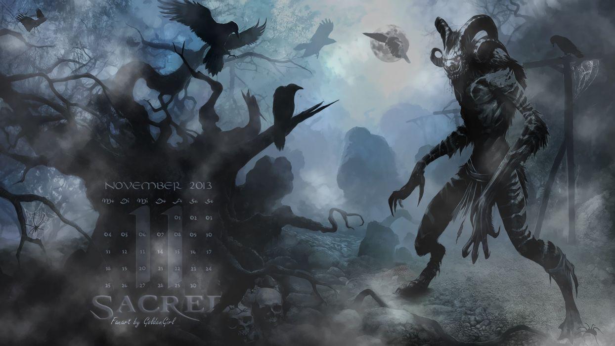 SACRED fantasy action rpg warrior battle fighting wallpaper