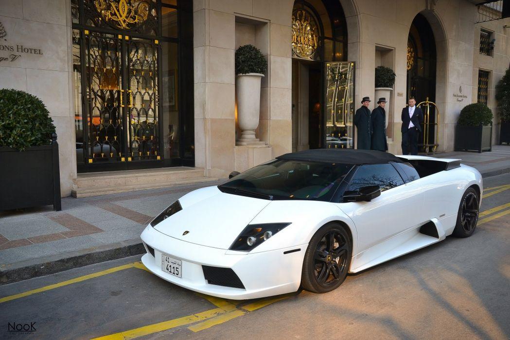 lamborghini murcielago roadster cars coupe supercars white blanc wallpaper