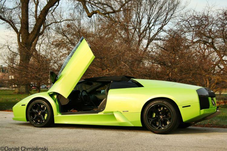 lamborghini murcielago roadster cars coupe supercars green vert wallpaper