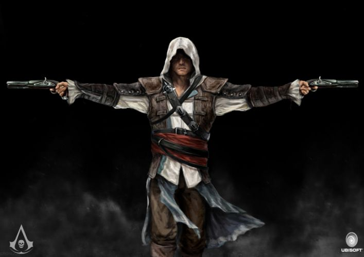ASSASSINS CREED BLACK FLAG fantasy fighting action stealth adventure pirate poster wallpaper