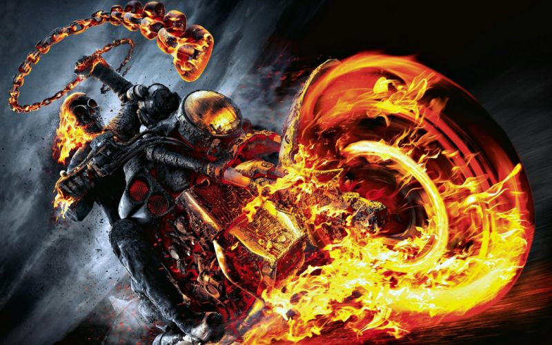 movies ghost rider motorcycle fire wallpaper