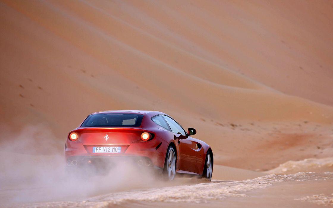 cars ferrari-ff speed motors desert wallpaper
