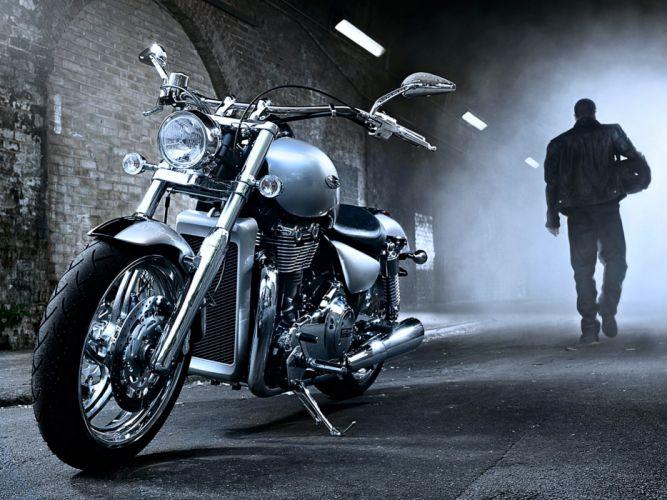 motorcycle harley-davidson man fog wallpaper