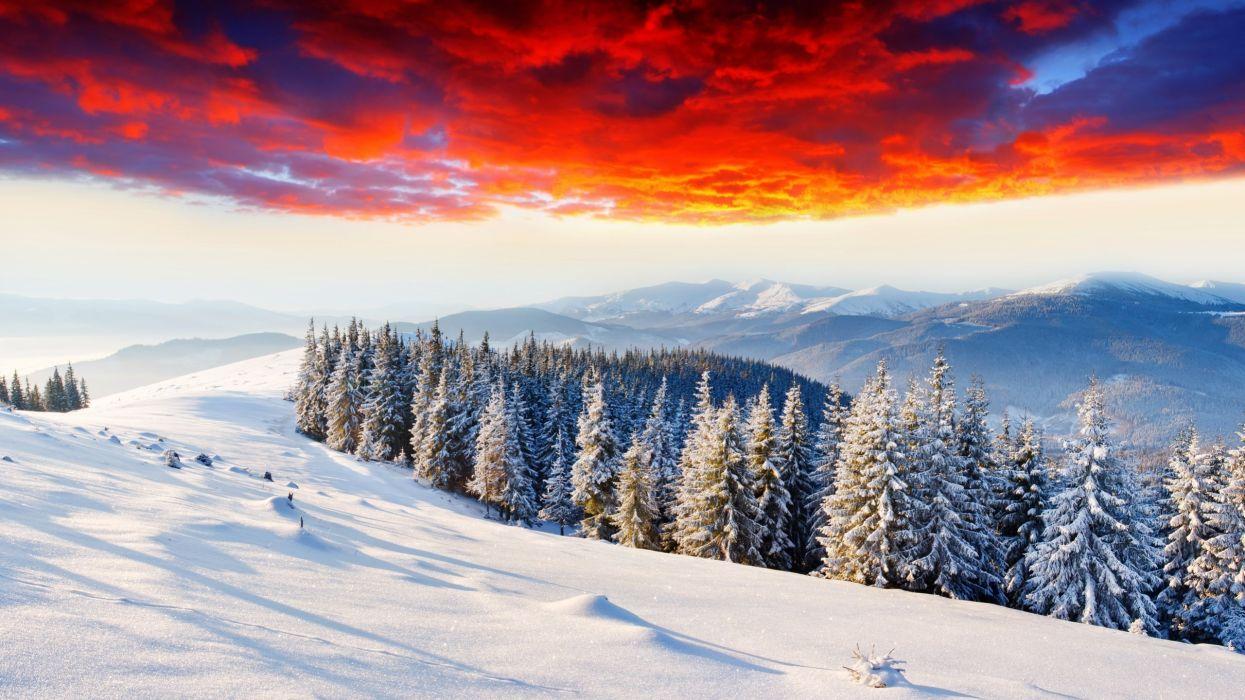 invierno-naturaleza-nieve-paisajes-cielo-rojo-arboles wallpaper
