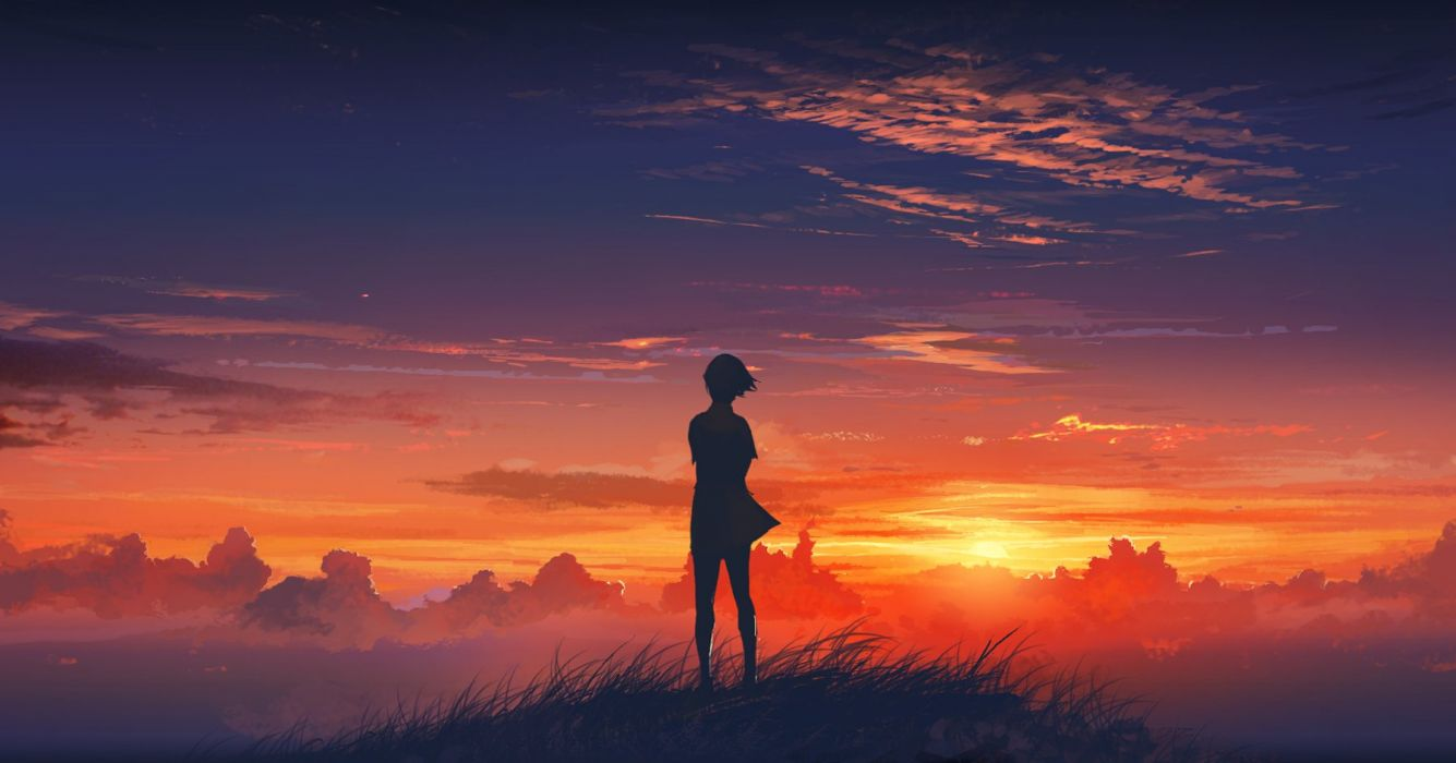 original girl sunset landscape sky clouds wallpaper