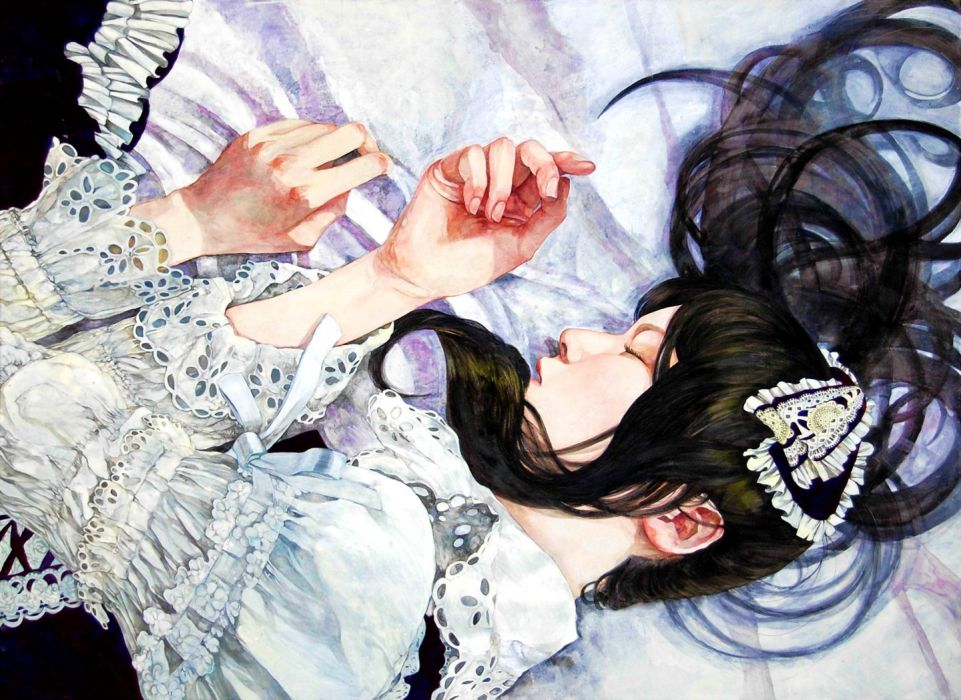 original girl sleep long hair dress black wallpaper