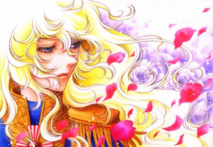 anime series rose+of+versailles oscar petals flower long hair blonde wallpaper