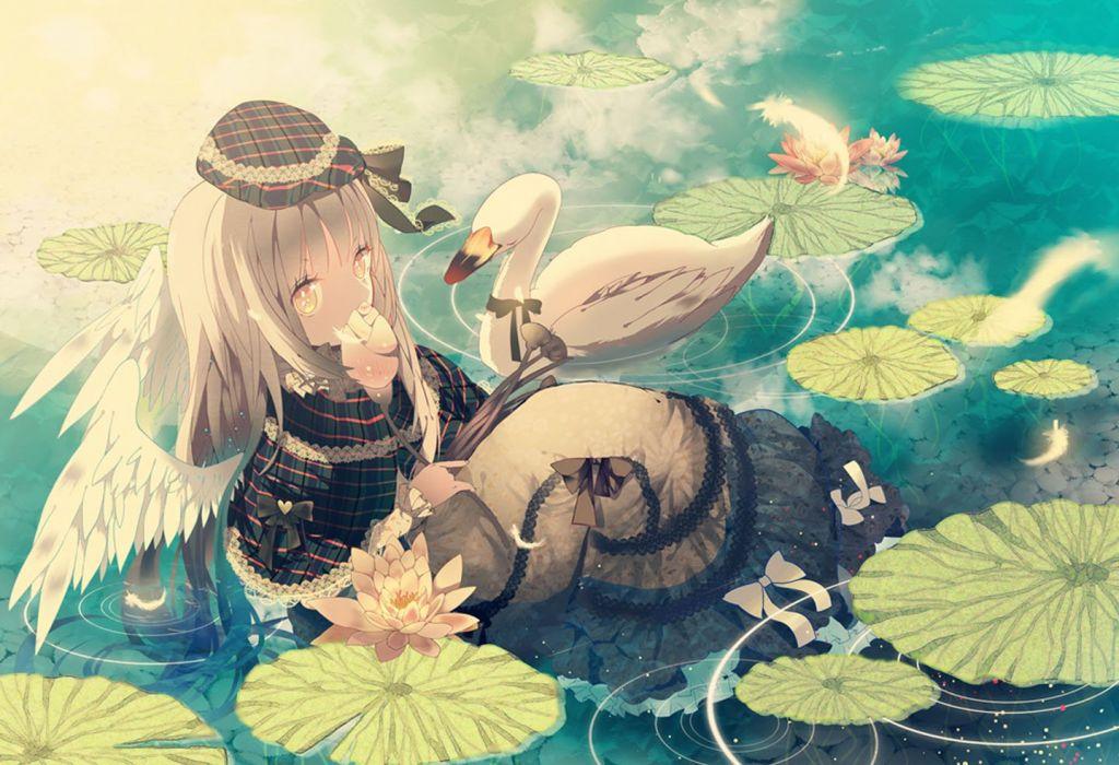 original anime water flower girl animal dress wallpaper
