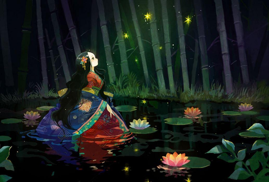 lake anime girl original forest magic lotus kimono long hair wallpaper