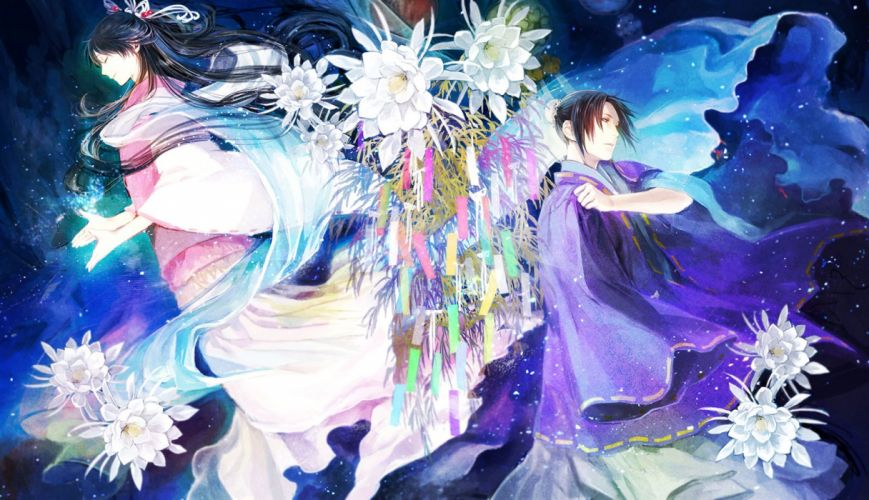 anime original flower girl male couple magic kimono wallpaper
