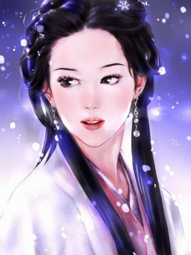 girl painting long hair original kimono face fantasy wallpaper