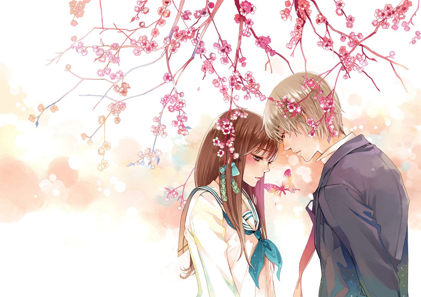Love Wallpaper With Girlfriend : Anime couple butterfly animal tree sakura love girl male school uniform wallpaper 1440x1017 ...