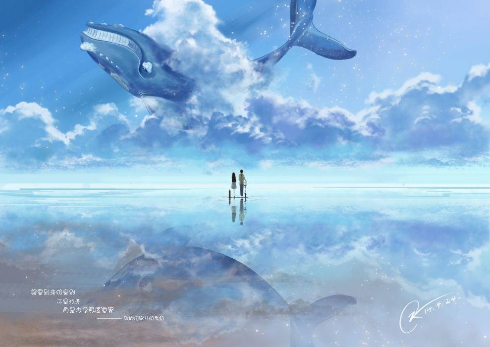 original anime couple sky animal Whale blue water wallpaper