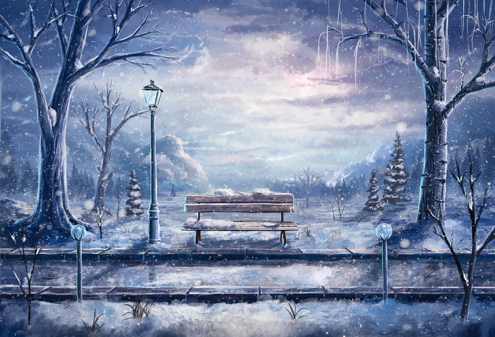 Anime paintings artistic mood snowflakes snow nature storm people ...