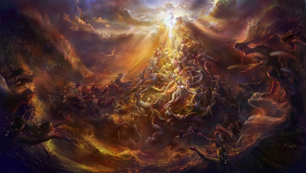 fantasy mermaids ocean girls angel cloud sky yellow wallpaper