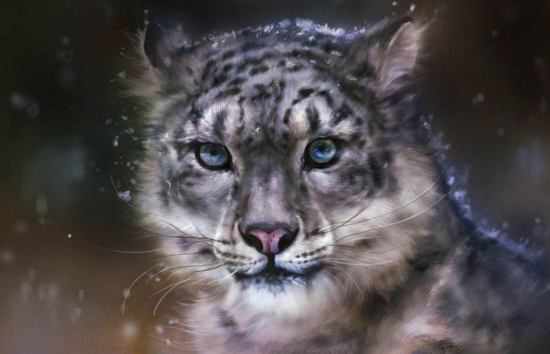 fantasy leopar blue eyes painting wallpaper