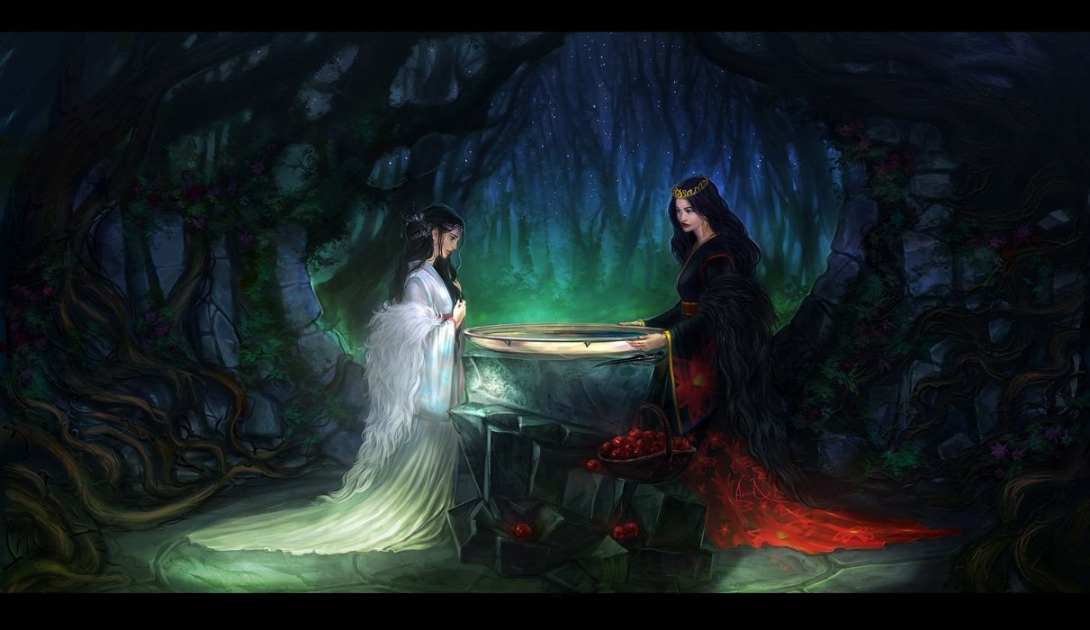 girls forest fantasy dress white witch magic apple wallpaper