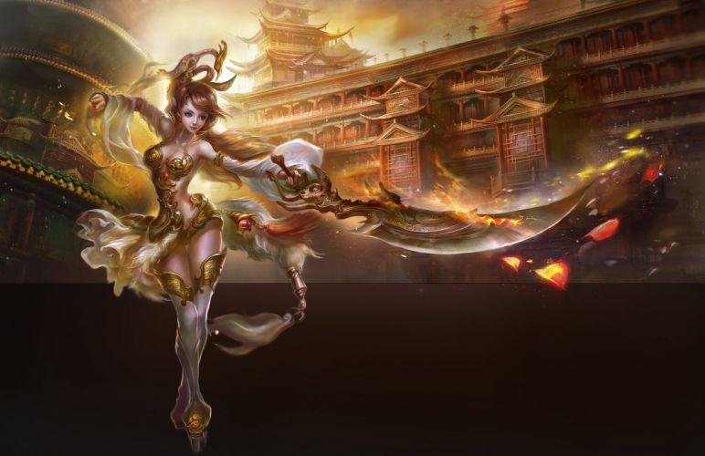 fantasy girl dress warrior palace petals wallpaper