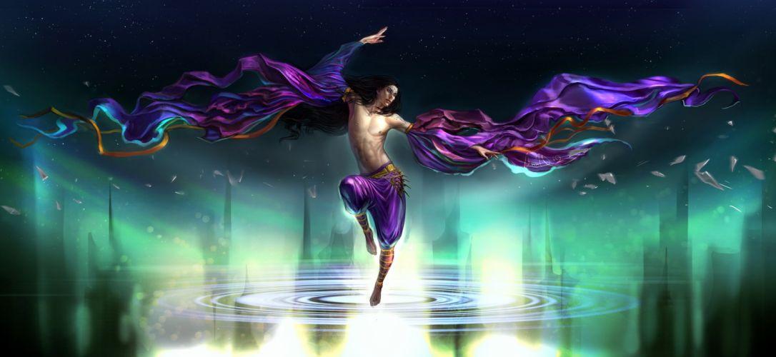 dance fantasy male water magic wallpaper