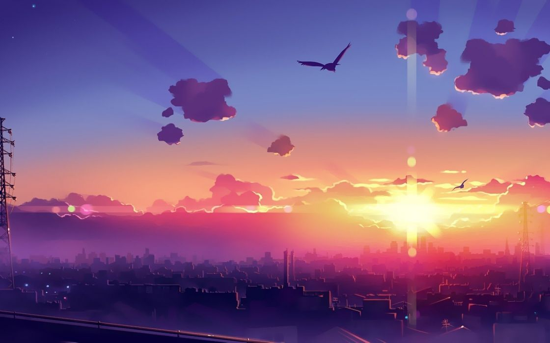 original sunset city sky clouds anime wallpaper