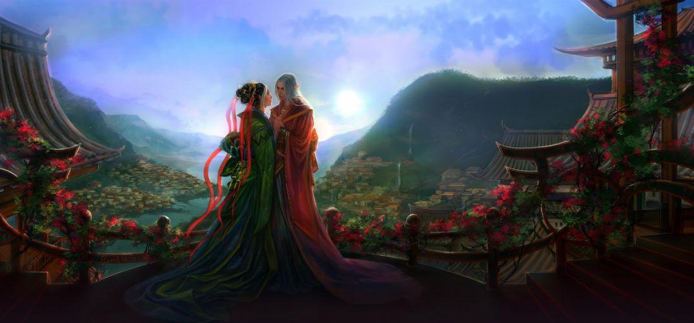fantasy love couple kimono elf landscape wallpaper
