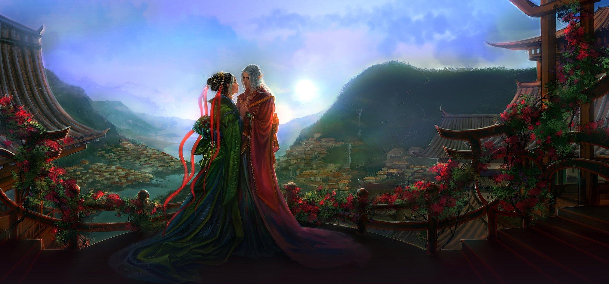 Fantasy Love Wallpaper Background : Fantasy love couple kimono elf landscape wallpaper 2024x943 610444 WallpaperUP