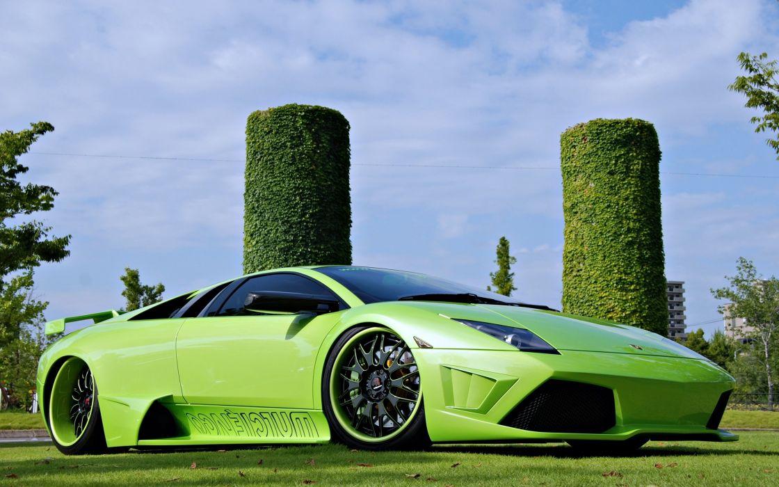 cars lamborghini murcielago motors green speed wallpaper