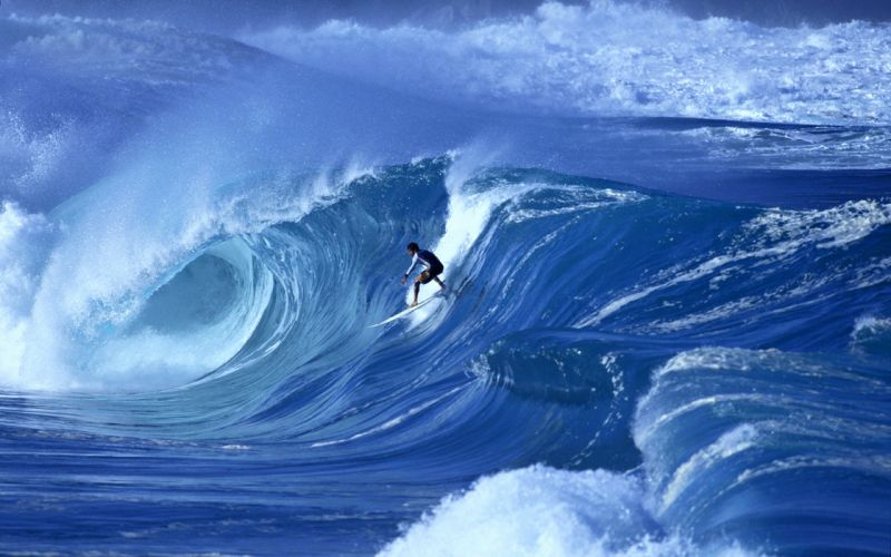 wave surfing sea sports man wallpaper