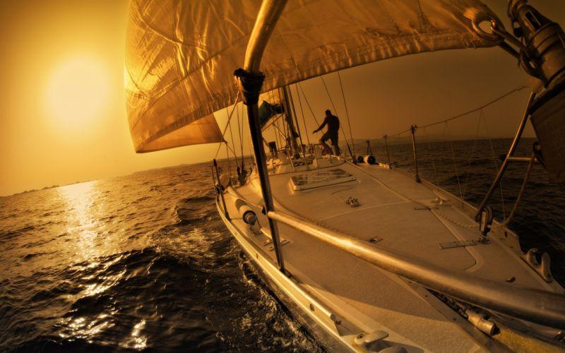 yacht sunset sea sail boat sports wallpaper