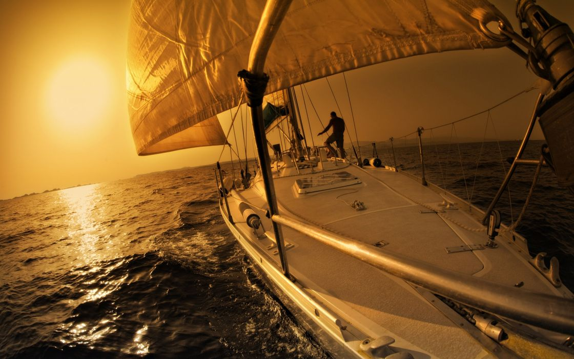 yacht sunset sea sail boat sports wallpaper