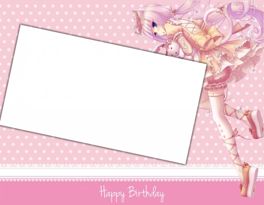 anime girl pink card wallpaper