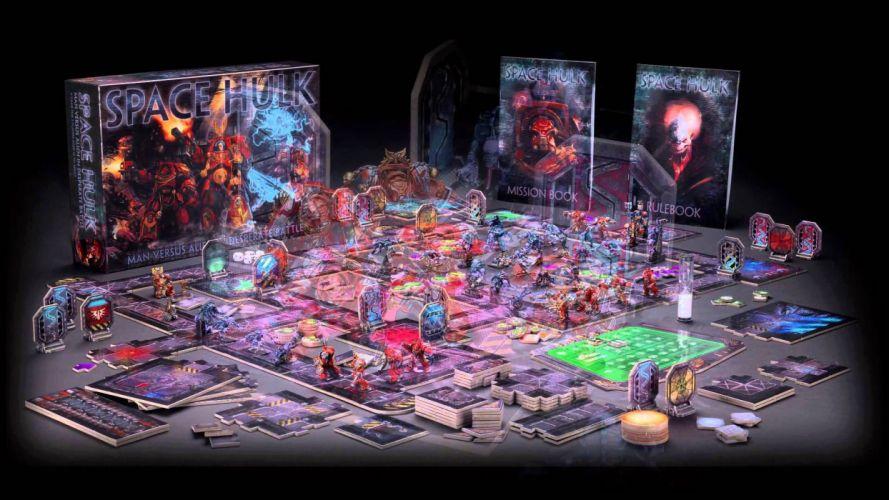 SPACE HULK Deathwing fantasy fighting warhammer action futuristic sci-fi warrior armor board game rpg poster wallpaper