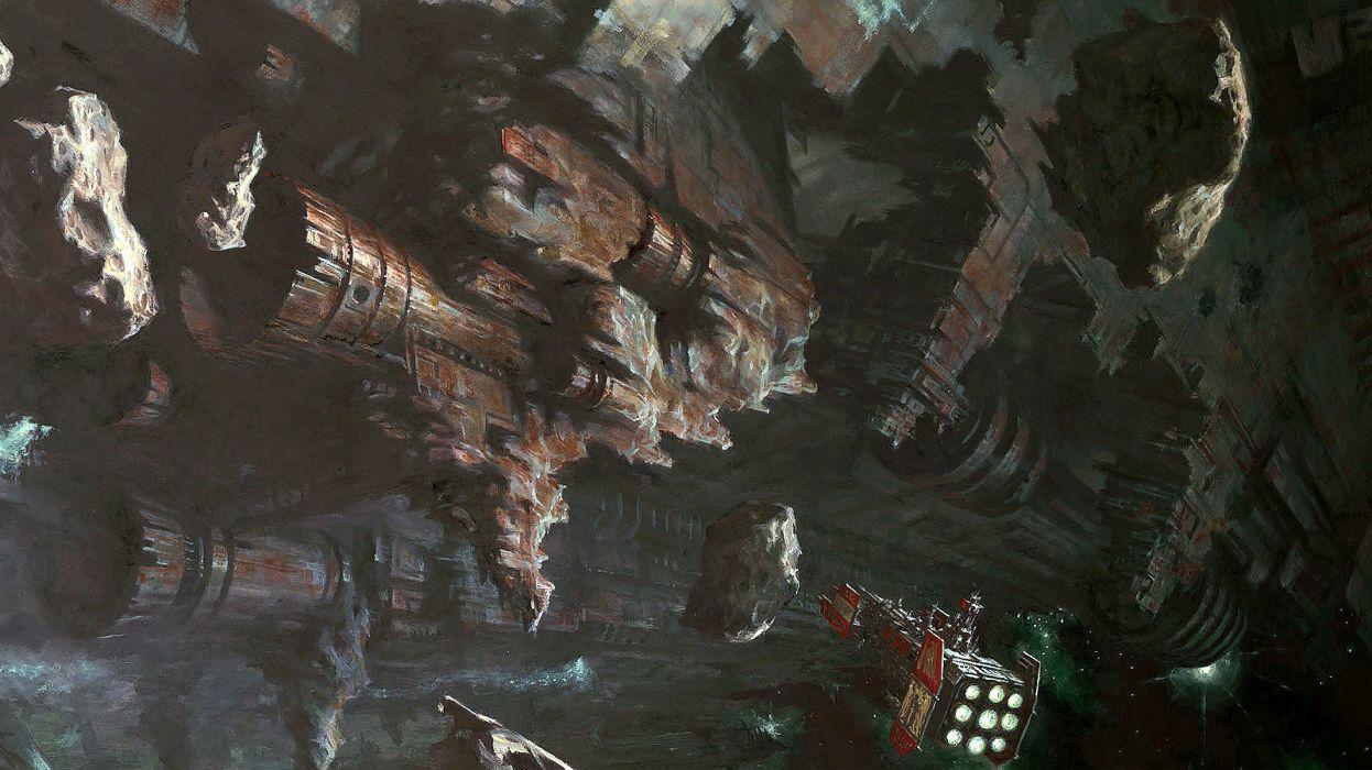 SPACE HULK Deathwing fantasy fighting warhammer action futuristic sci-fi spaceship wallpaper